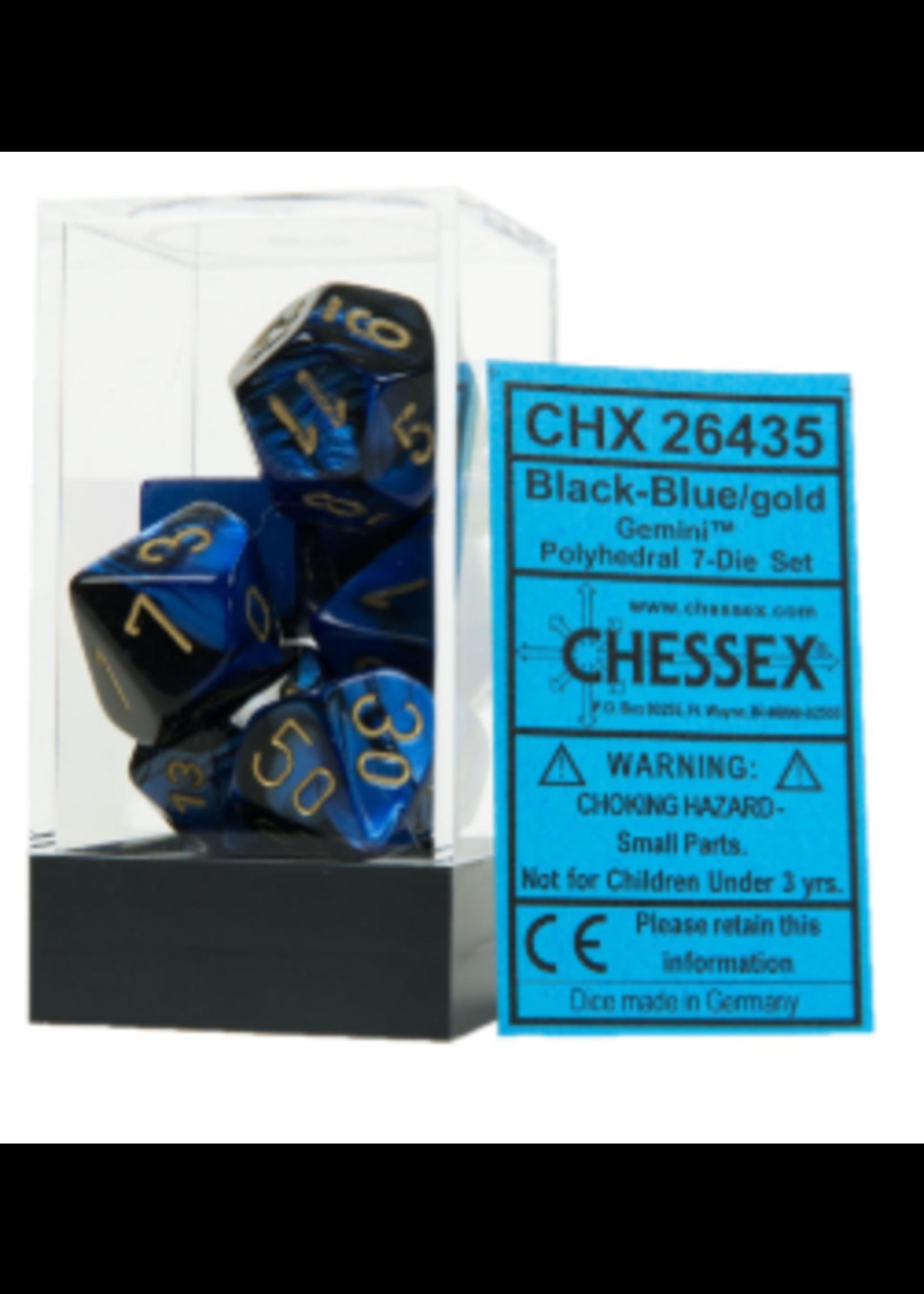Chessex Gemini Poly 7 set: Black & Blue w/ Gold