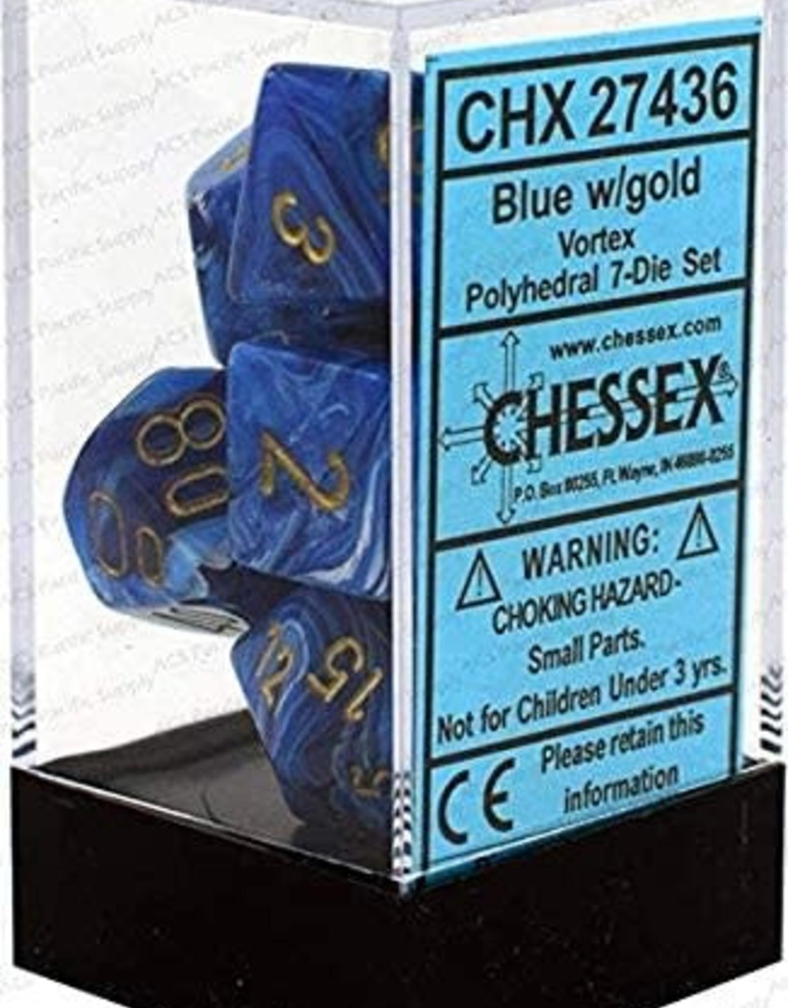Chessex Vortex Poly 7 set: Blue w/ Gold