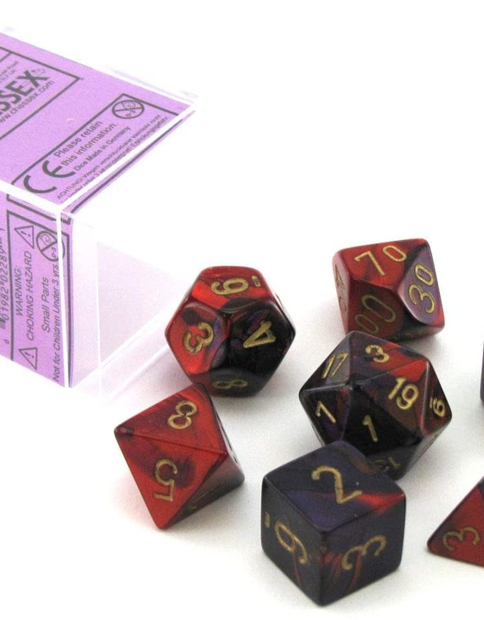 Chessex Gemini Poly 7 set: Purple & Red w/ Gold