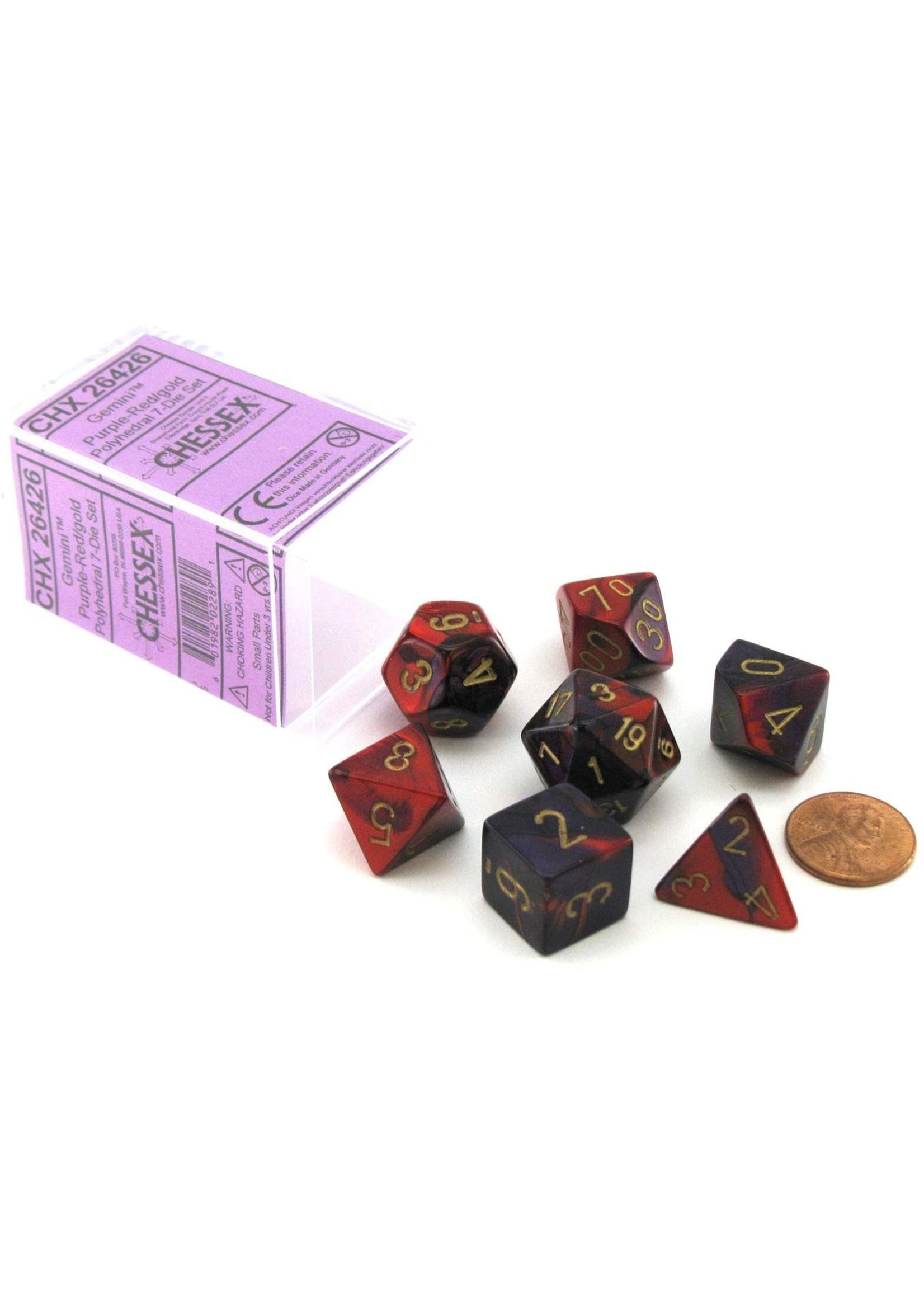 Chessex Gemini Poly 7 set: Purple & Red w/ Gold