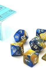 Chessex Gemini Poly 7 set: Blue & Gold w/ White