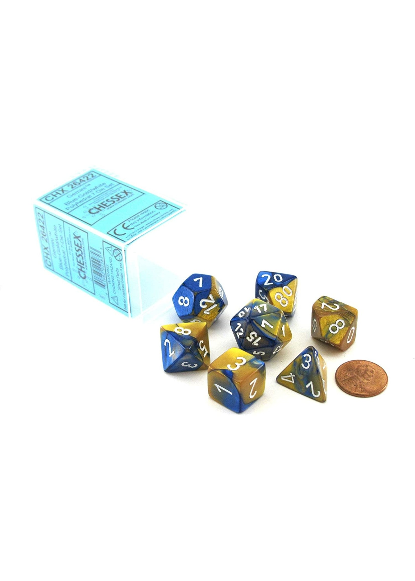 Chessex Gemini Poly 7 set: Blue & Gold w/ White