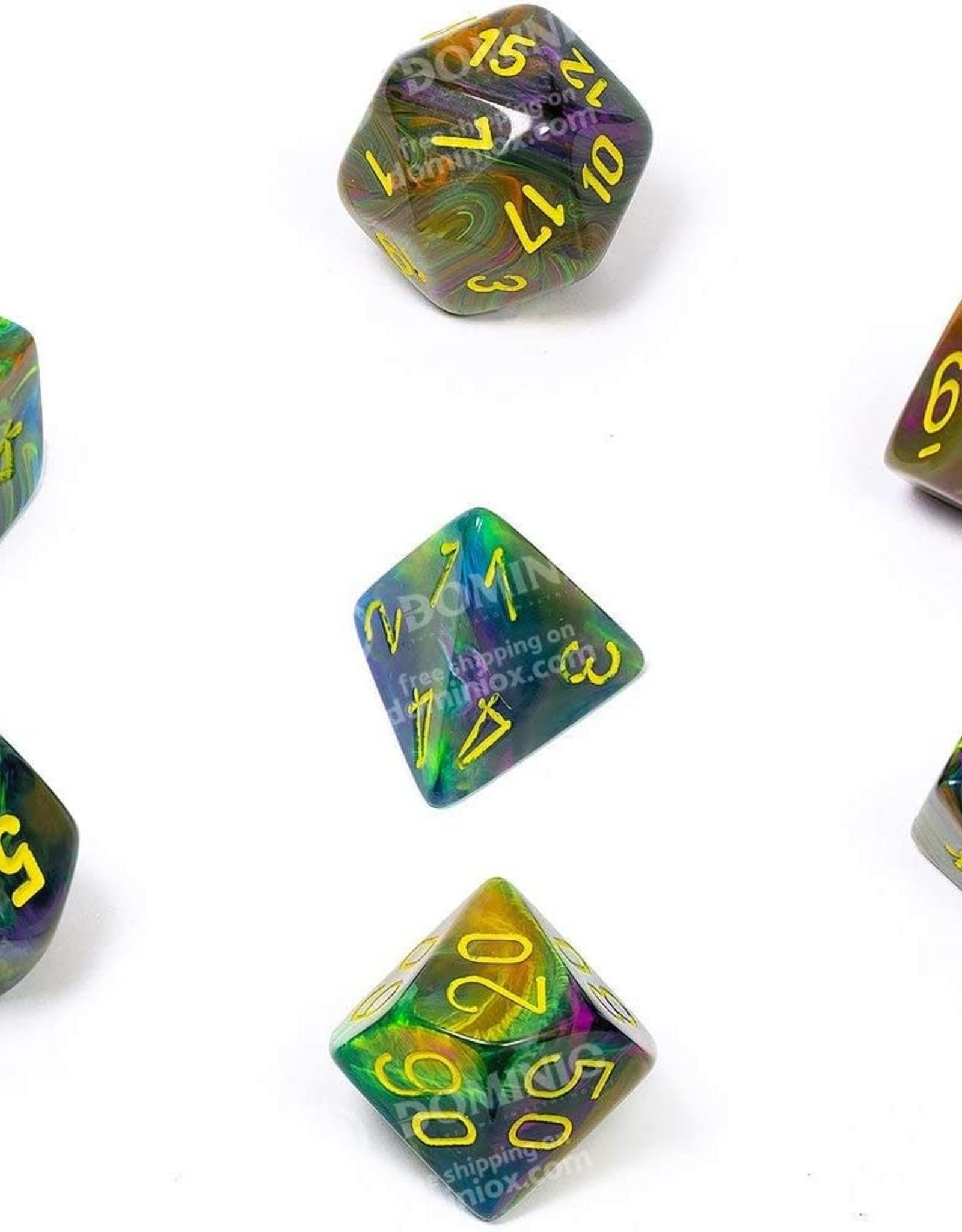 Chessex Chessex CHX27449 Dice-Festive Set, Rio/Yellow