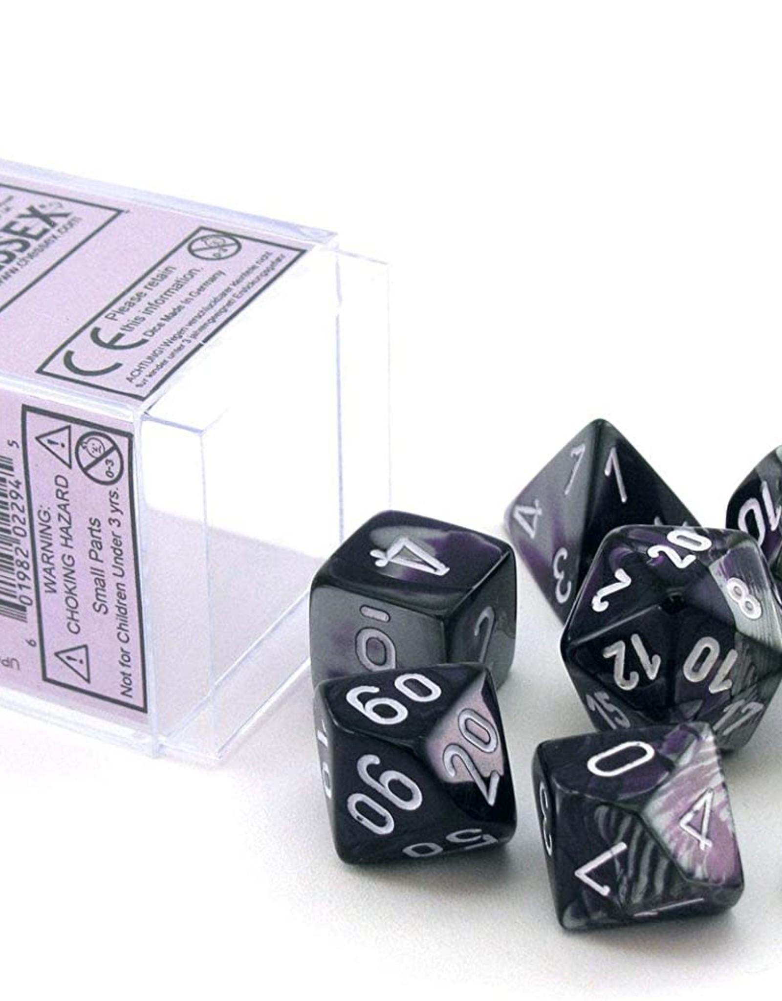 Chessex Gemini Poly 7 set: Purple & Steel w/ White