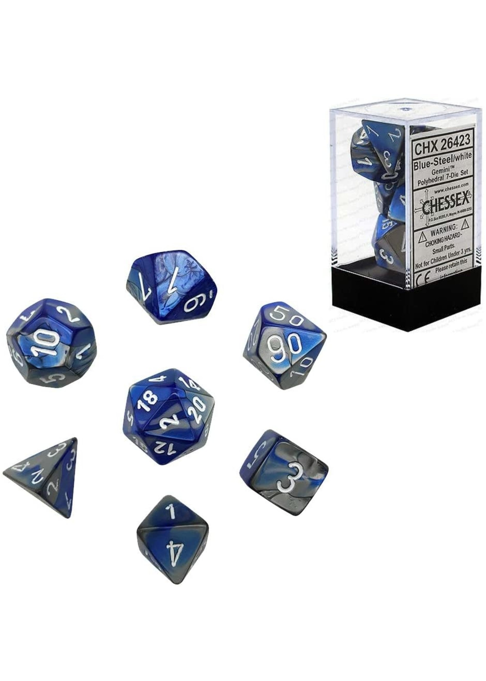 Chessex Gemini Poly 7 set: Blue & Steel w/ White