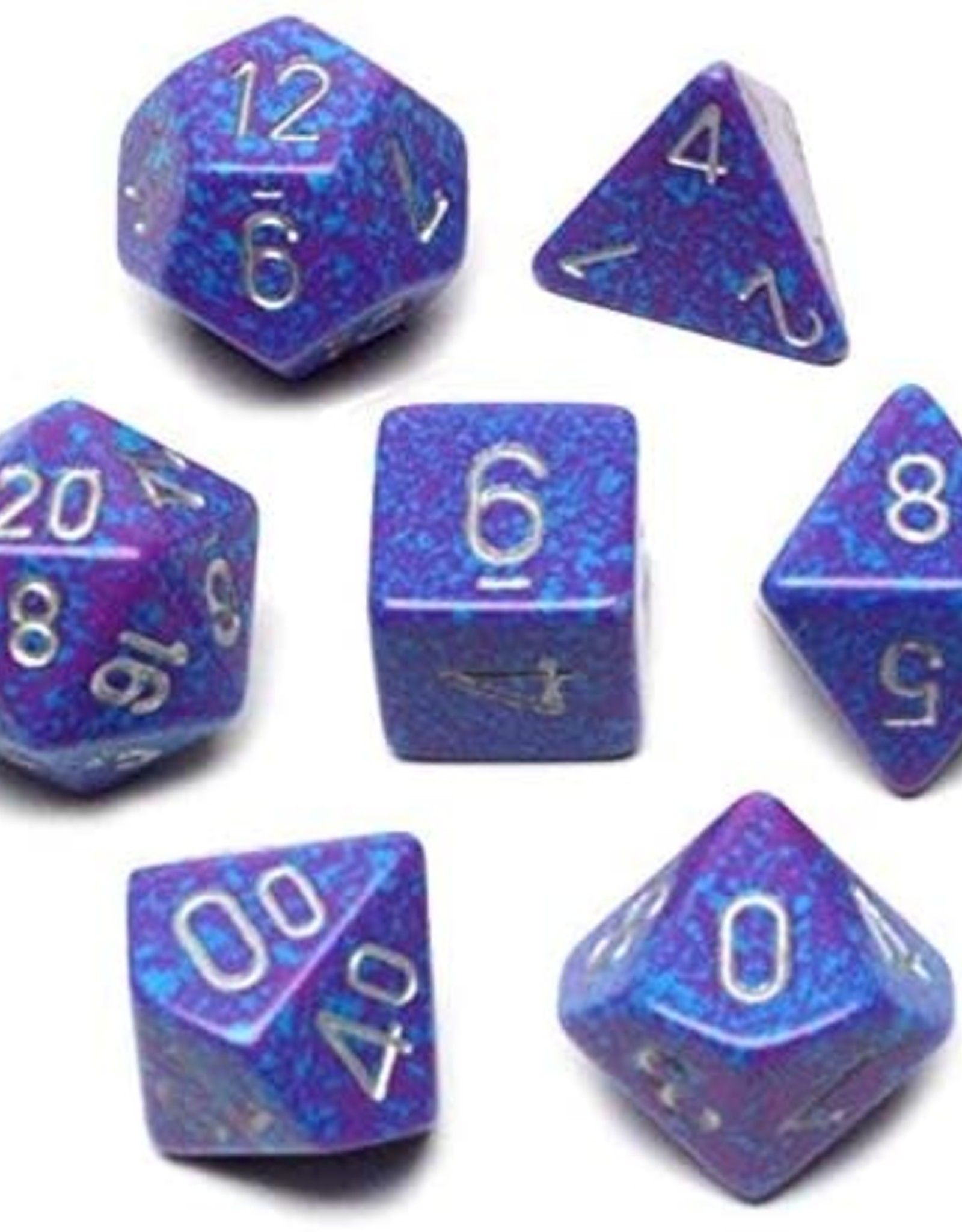 Chessex Chessex CHX25347 Dice-Speckled Silver Tetra Set