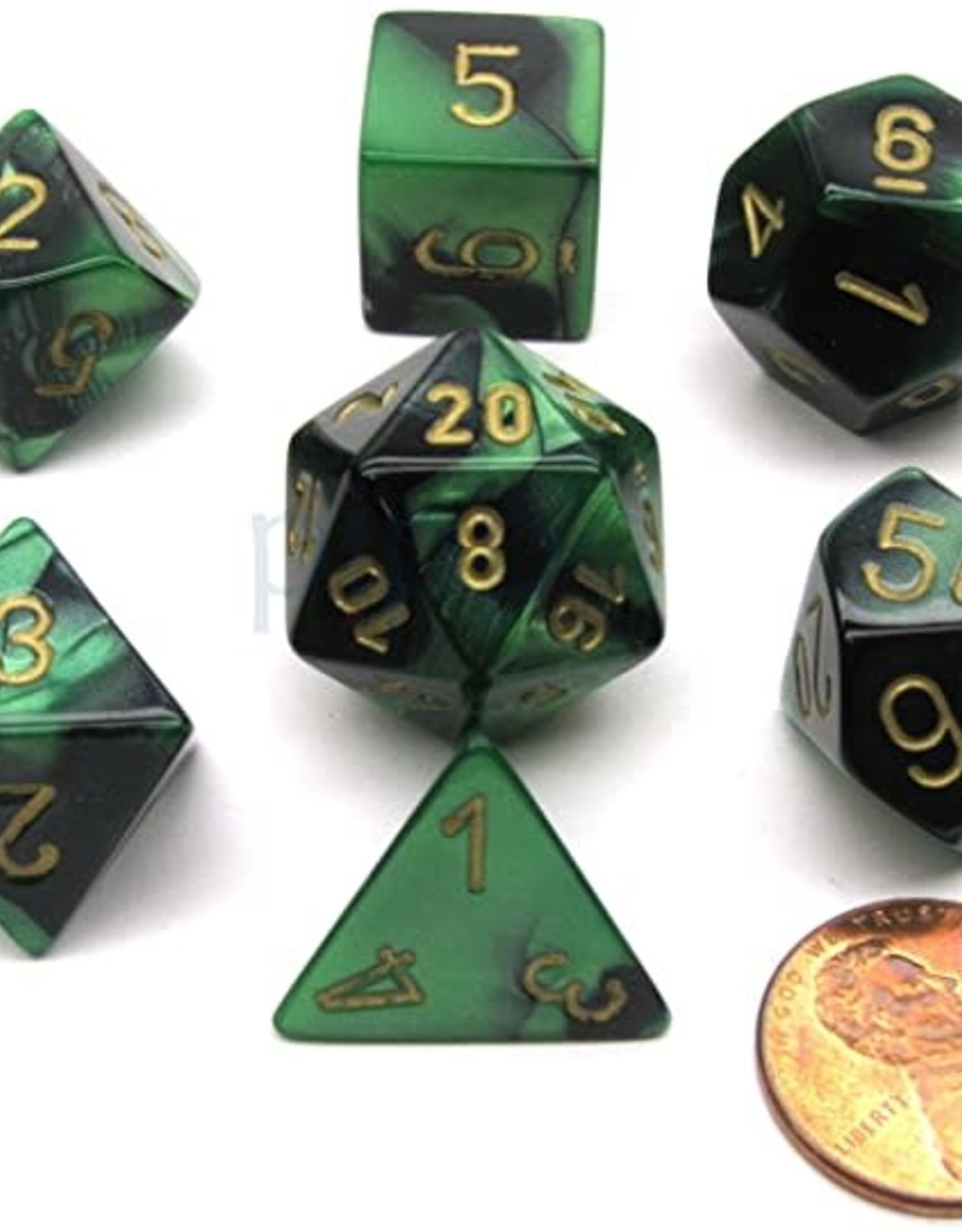 Chessex Polyhedral 7-Die Gemini Chessex Dice Set - Black-Green w/ Gold CHX-26439