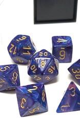 Chessex Lustrous Poly 7 set: Purple w/ Gold