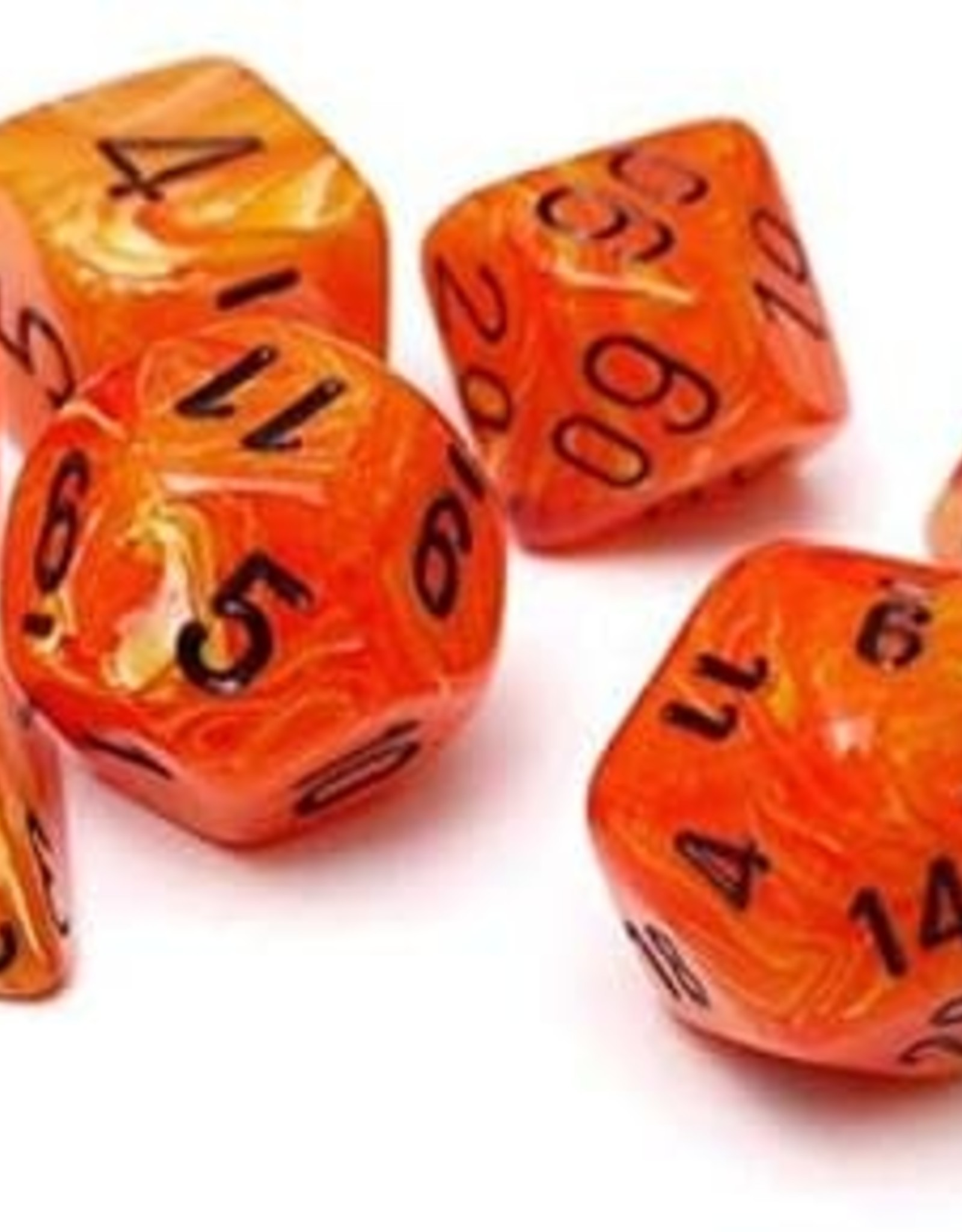 Chessex Vortex Poly 7 set: Orange w/ Black