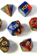 Chessex Gemini Poly 7 set: Blue & Red w/ Gold