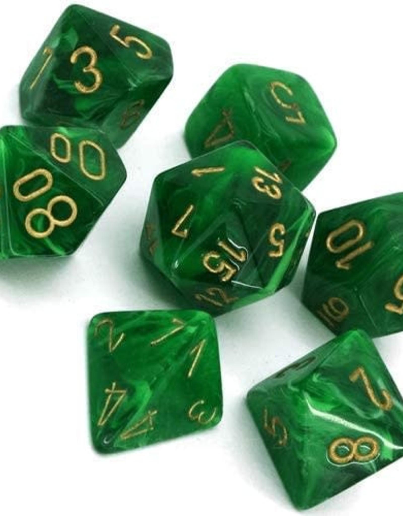 Chessex Vortex Poly 7 set: Green w/ Gold