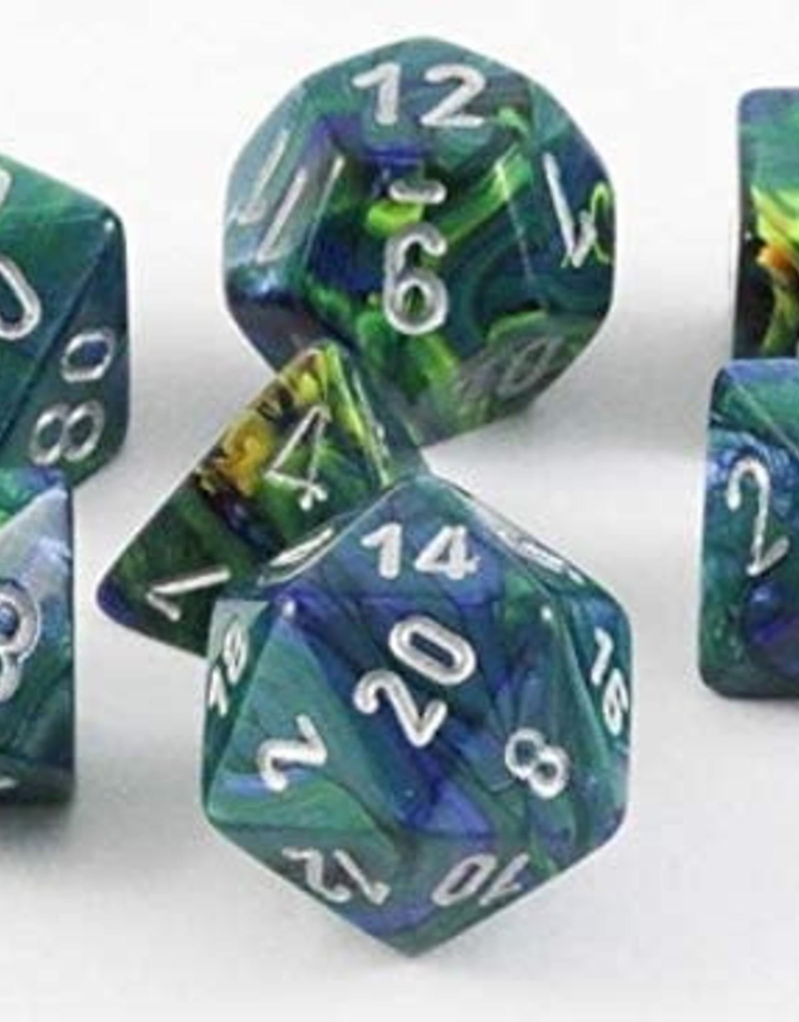 Chessex Festive Poly 7 set : Green w/ Silver