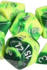 Chessex Chessex Dice Polyhedral 7-Die Gemini Set - Green and Yellow with Silver CHX-26454