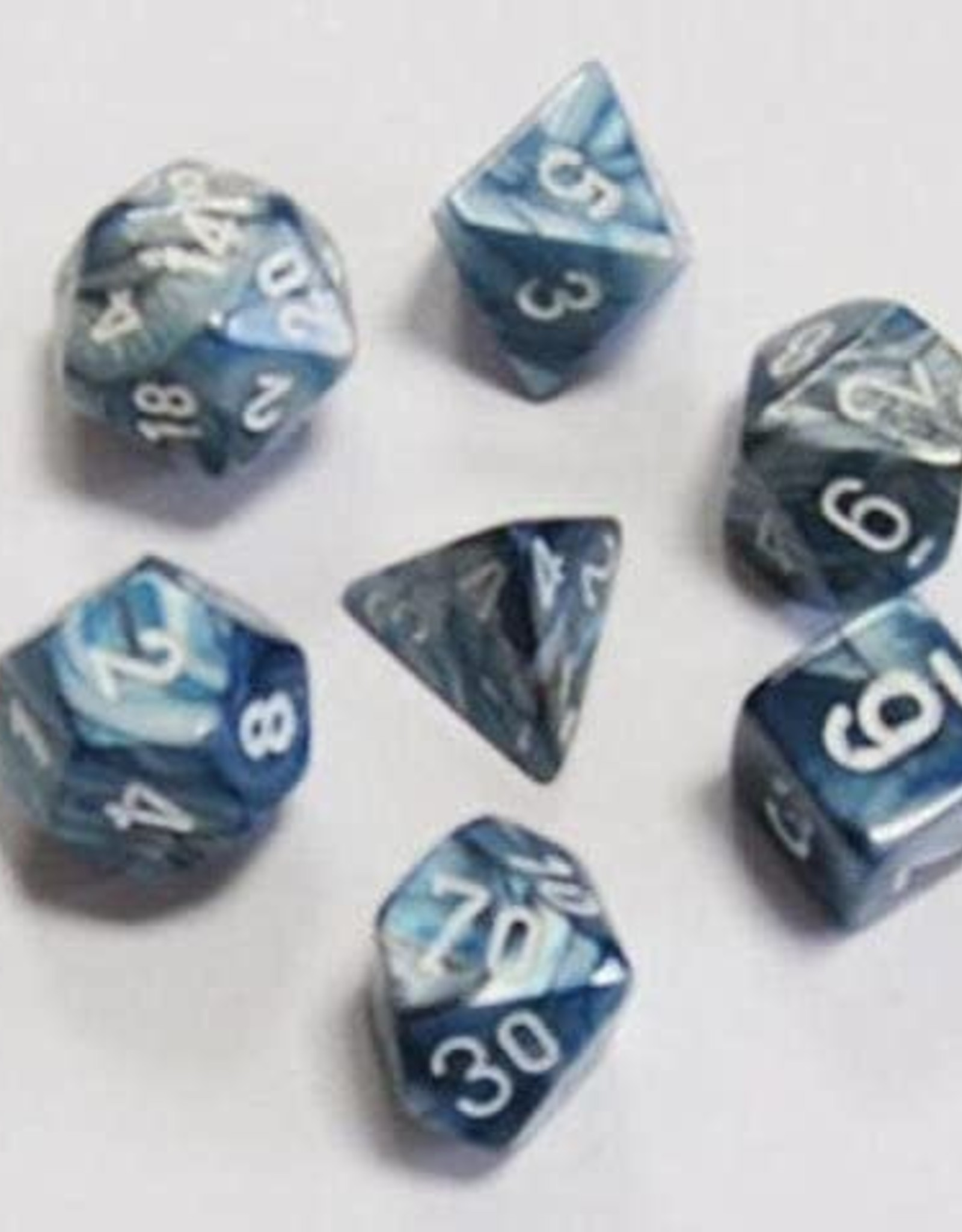 Chessex Lustrous Poly 7 set: Slate w/ White