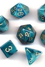 Chessex Phantom Poly 7 set: Teal w/ Gold