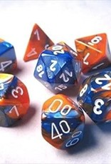 Chessex Gemini Poly 7 set: Blue & Orange w/ White
