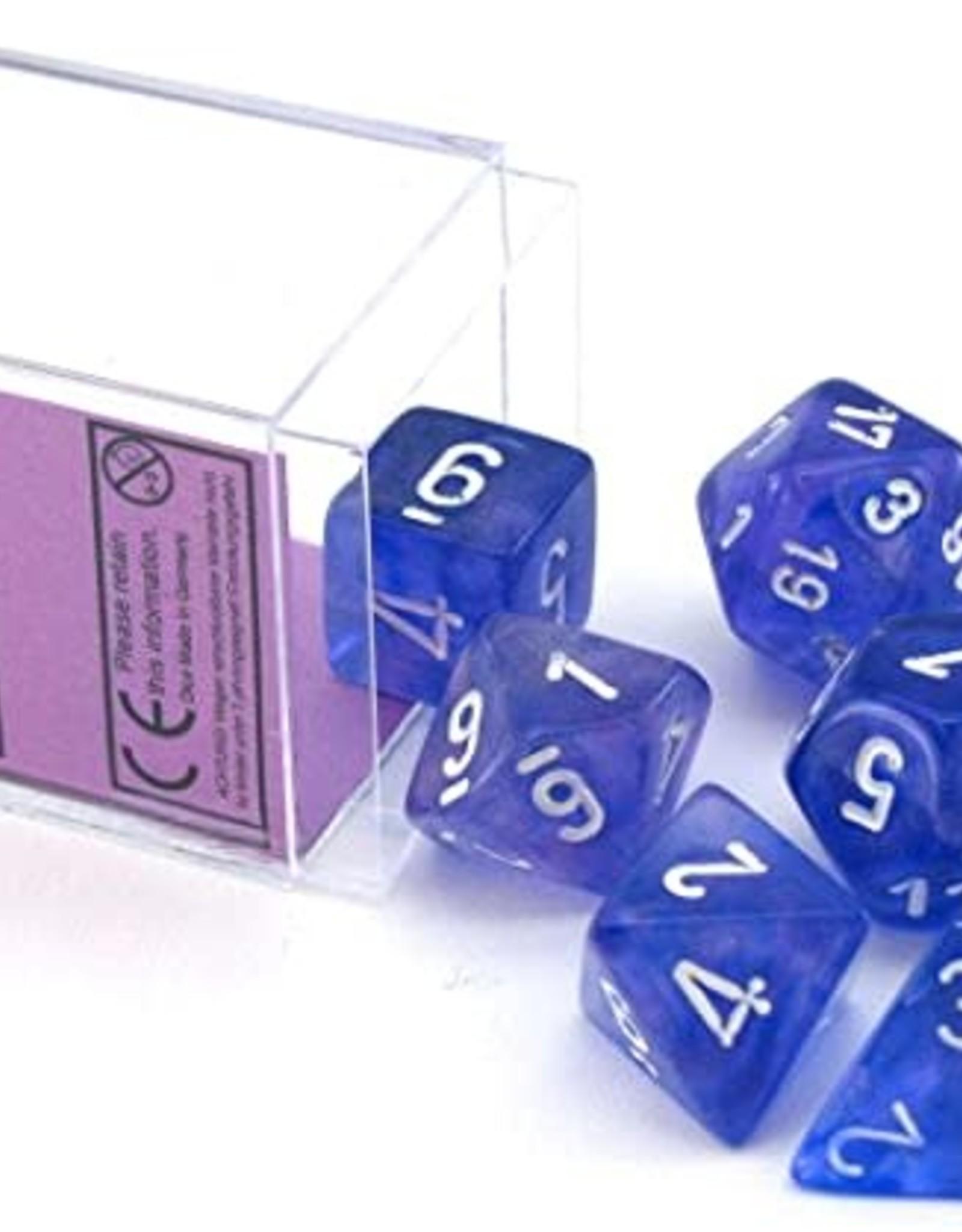 Chessex Borealis Poly 7 set: Purple w/ White