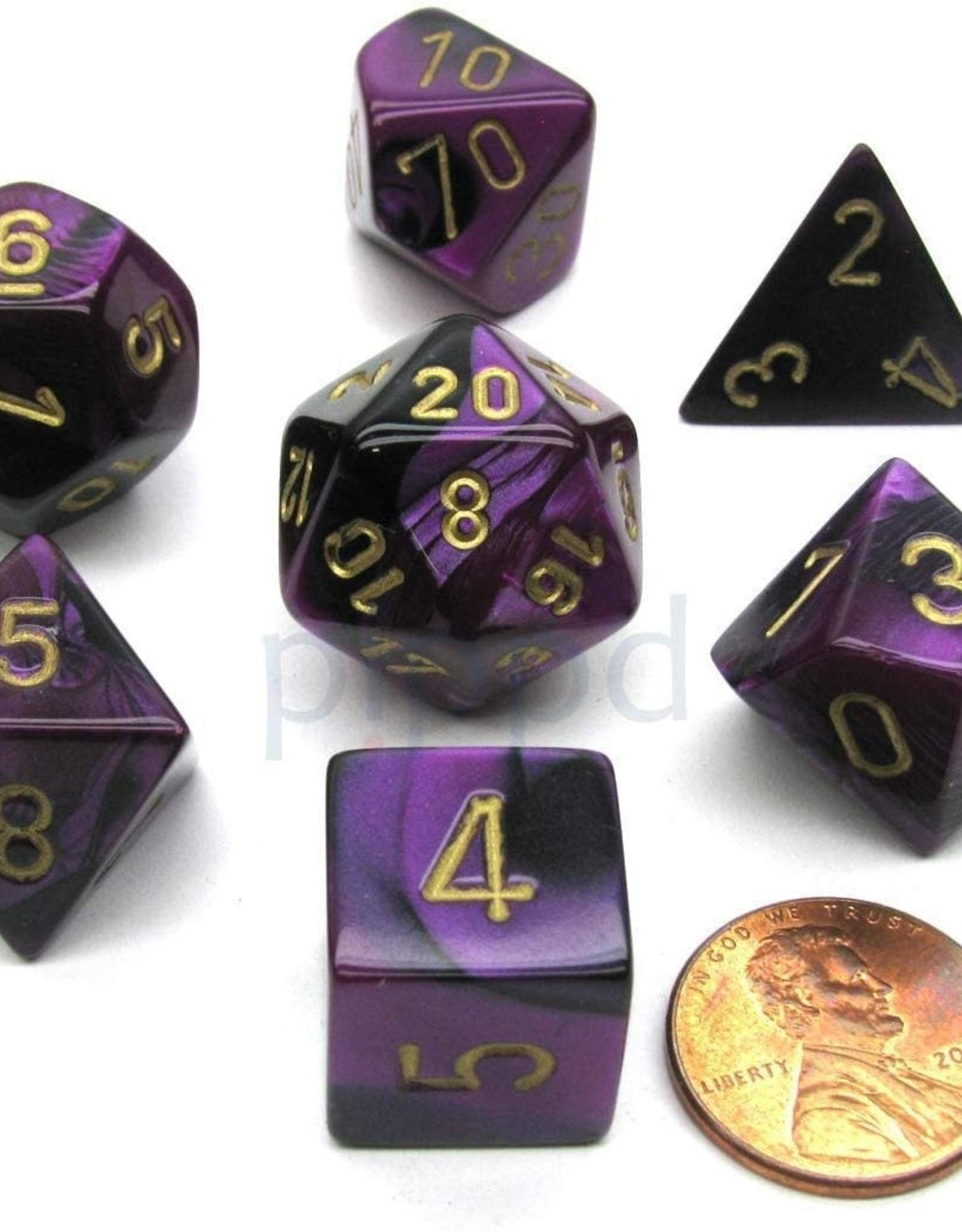 Chessex Gemini Poly 7 set: Black & Purple w/ Gold