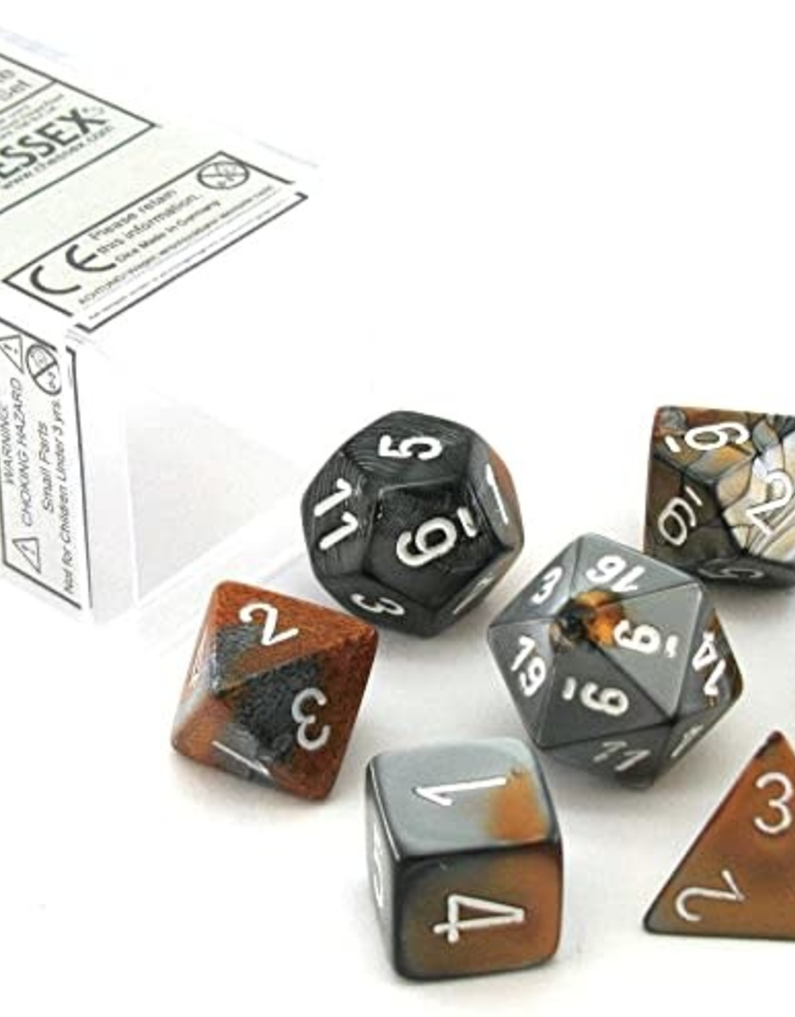 Chessex Chessex Polyhedral 7-Die Gemini Dice Set - Copper-Steel with White CHX-26424