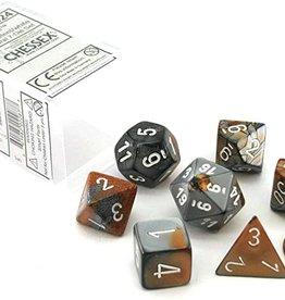 Chessex Gemini Poly 7 set: Copper & Steel w/ White