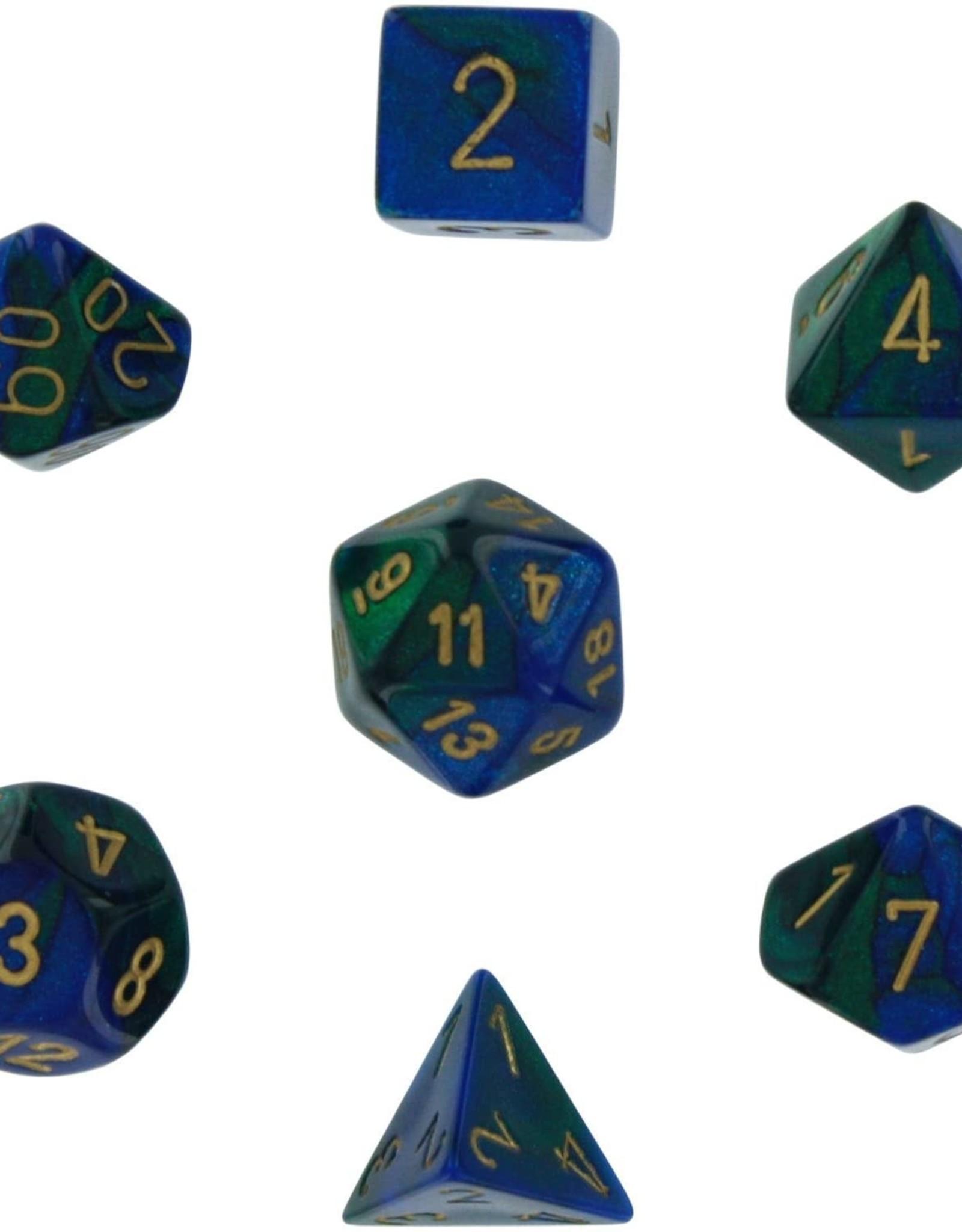 Chessex Gemini Poly 7 set:  Blue & Green w/ Gold