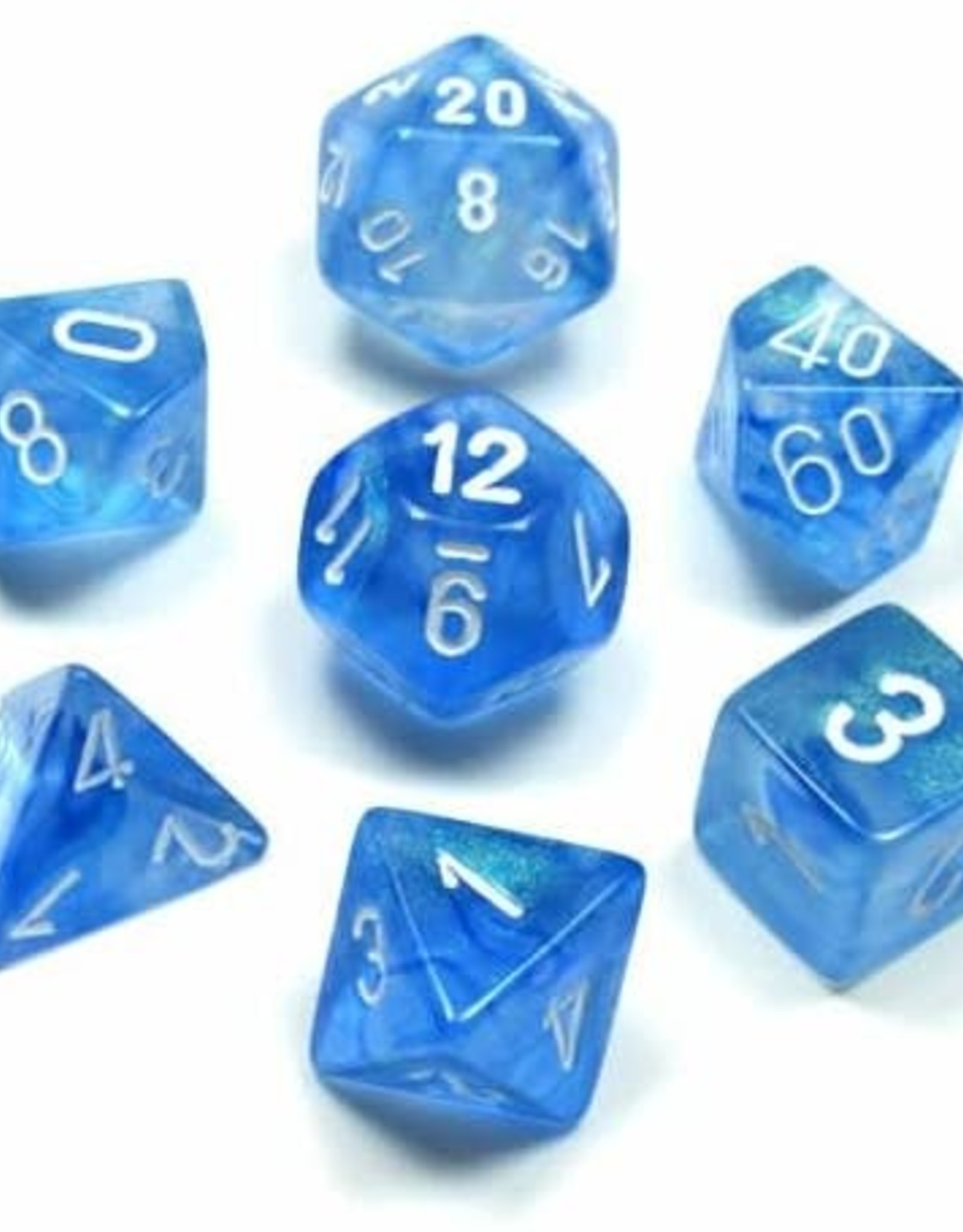 Chessex Borealis Poly 7 set: Sky Blue w/ White