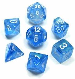 Chessex Borealis Poly 7 set: Sky Blue w/ White