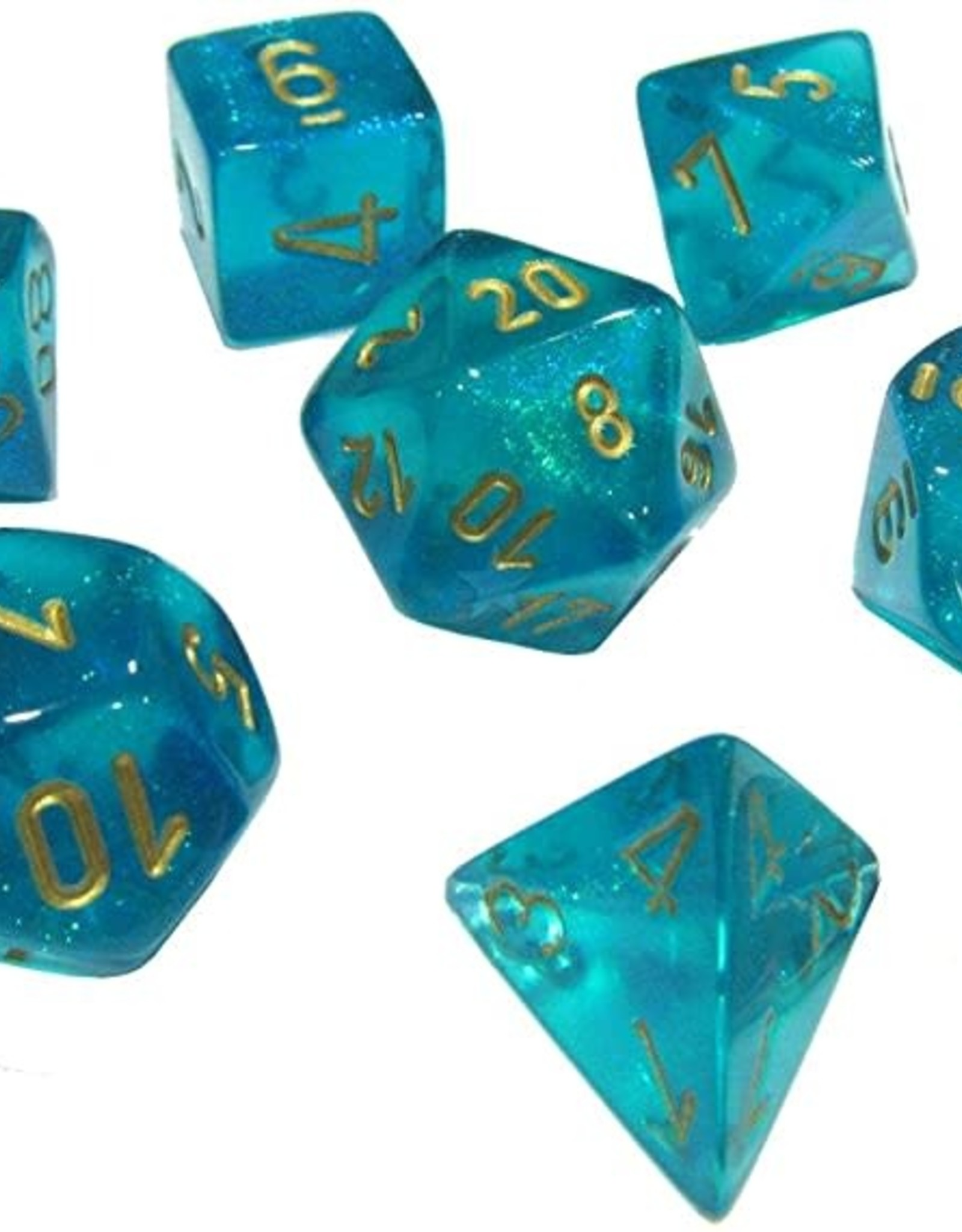 Chessex Borealis Poly 7 set: Teal w/ Gold