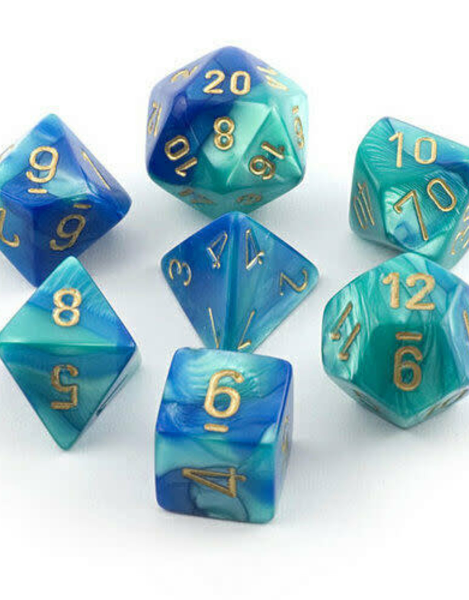 Chessex Gemini Poly 7 set: Blue & Teal w/ Gold