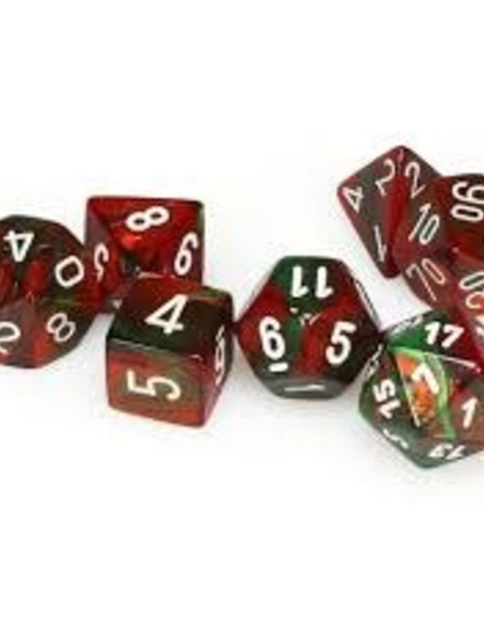 Chessex Chessex CHX26431 Dice-Gemini Green-Red/White Set, One Size, Multicolor