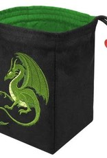 Red King Embroidered Bag: Fantasy Dragon Green