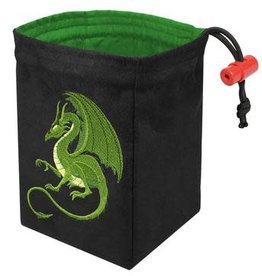 Red King Embroidered Dice Bag: Fantasy Dragon Green