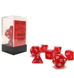 Red with White Translucent Polyhedral 7-Die Set Chessex CHX23004