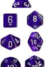 Chessex Translucent Blue/White Set of 7 Dice (CHX23006)