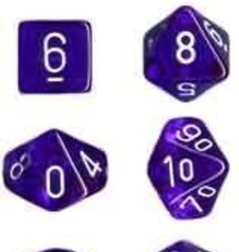 Chessex Translucent Blue/White Set of 7 Dice (CHX23006)