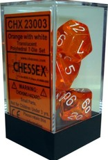 Chessex 7 Dice Set Translucent Orange With White CHX 23003