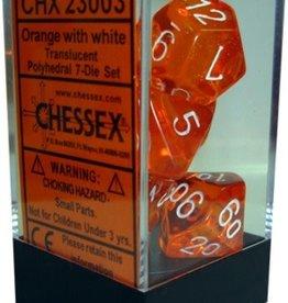 Chessex 7 Dice Set Translucent Orange With White CHX 23003