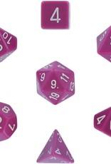Chessex Opaque Poly 7 set: Light Purple w/ White