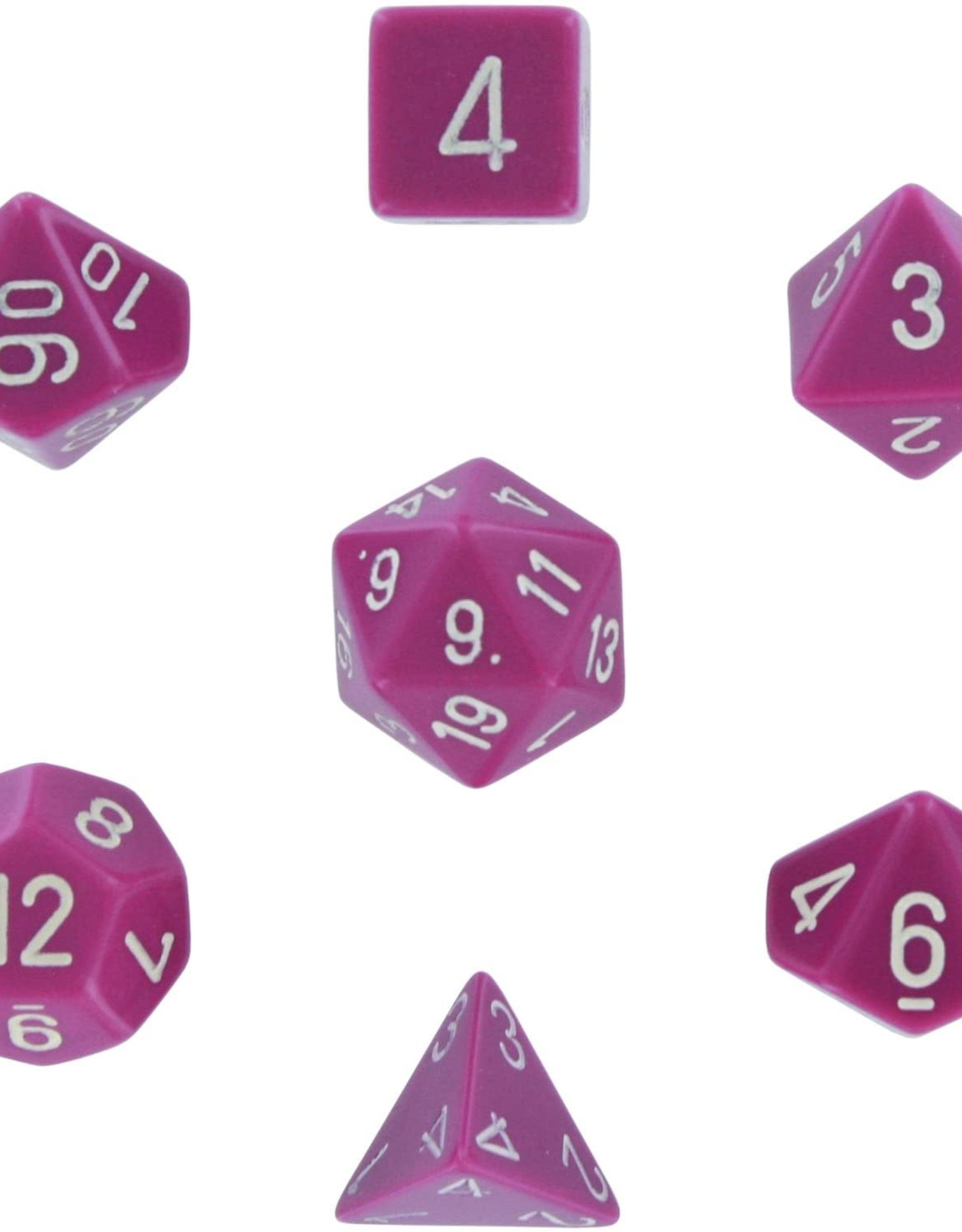 Chessex Chessex CHX25427 Dice-Opaque Light Purple/White Set, Multicolor