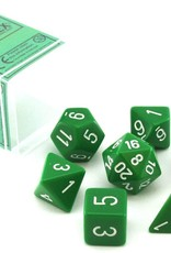 Chessex Opaque Poly 7 set: Green w/ White