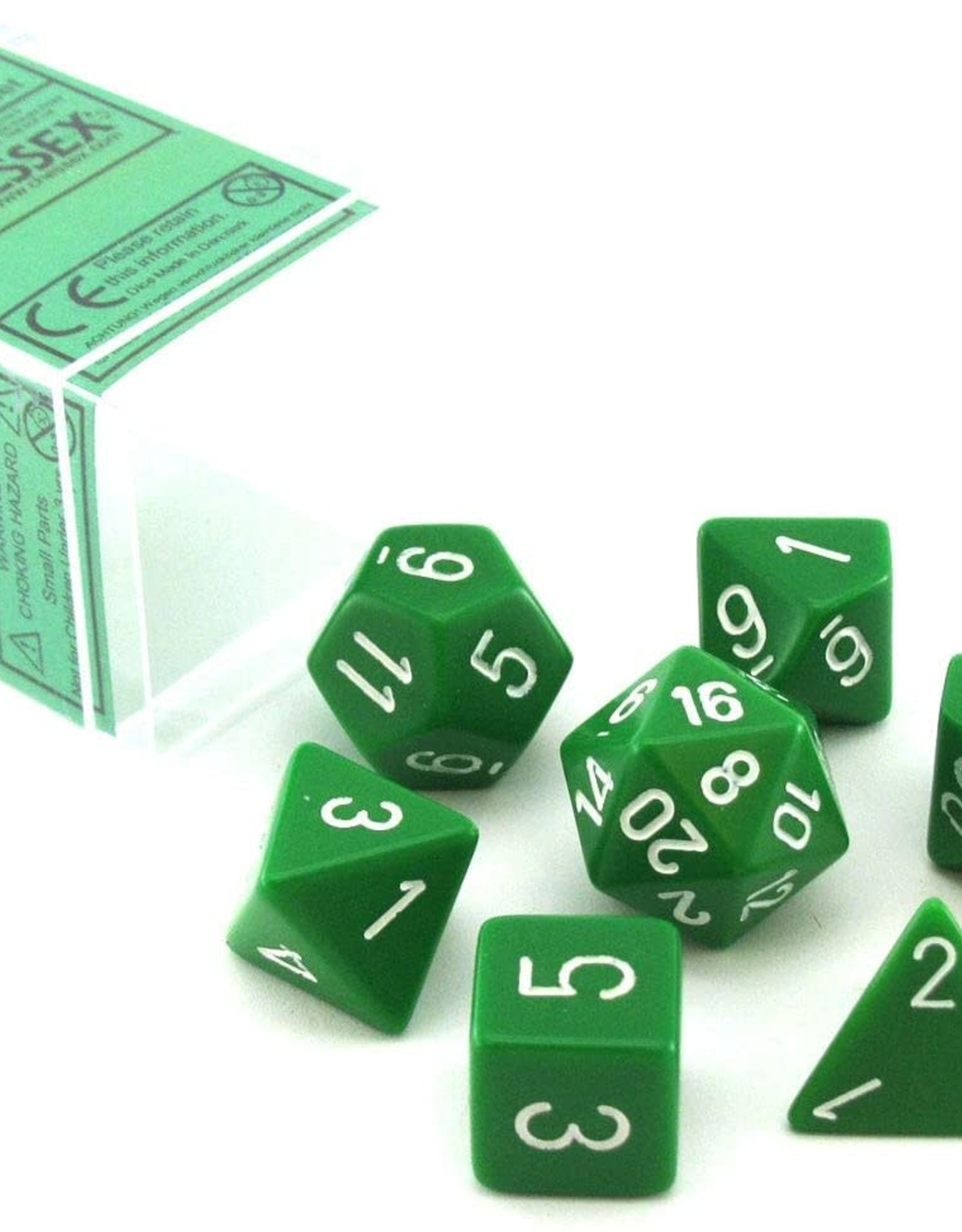 Chessex Chessex Polyhedral 7-Die Opaque Dice Set - Green with White