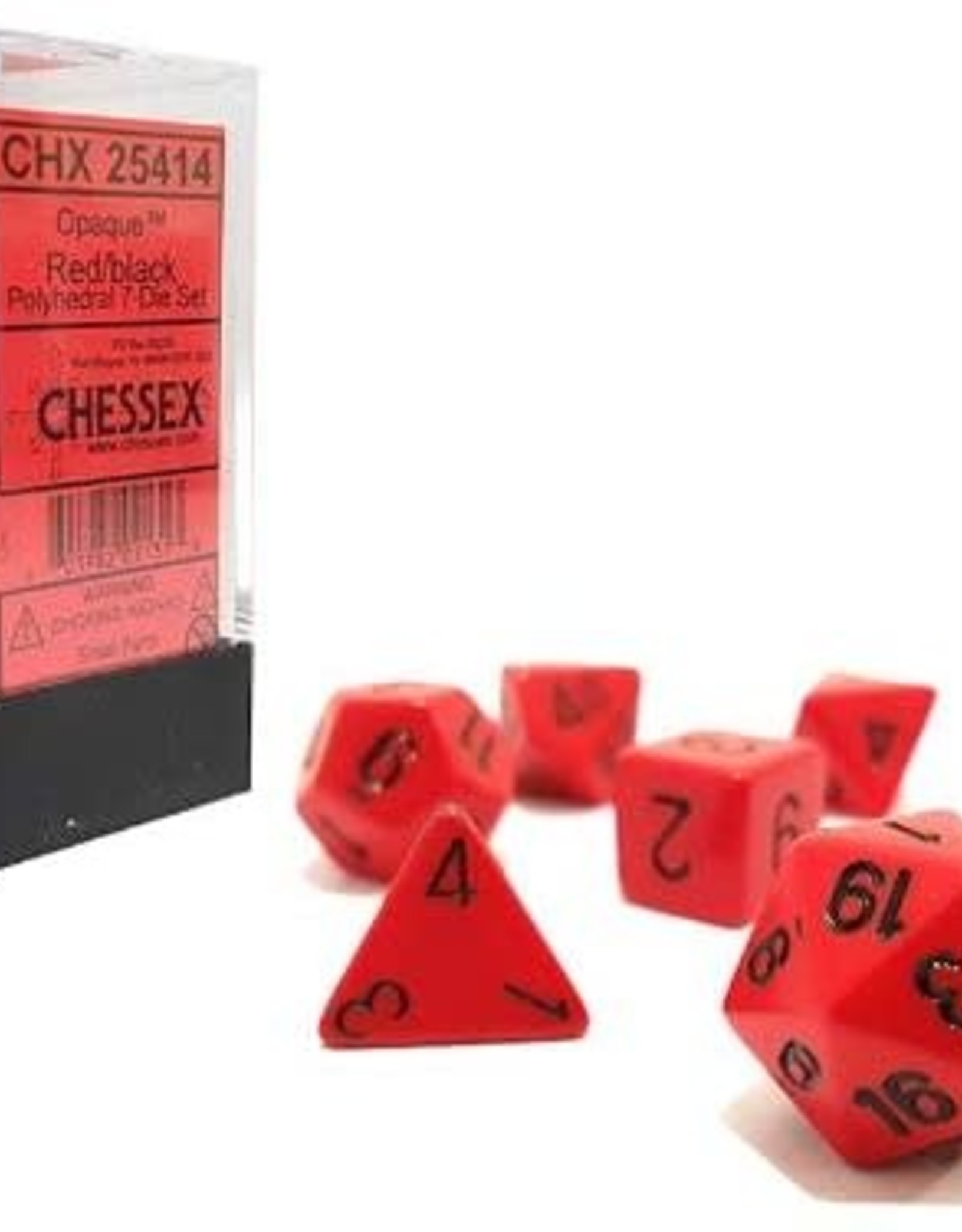 Chessex Opaque Poly 7 set: Red w/ Black