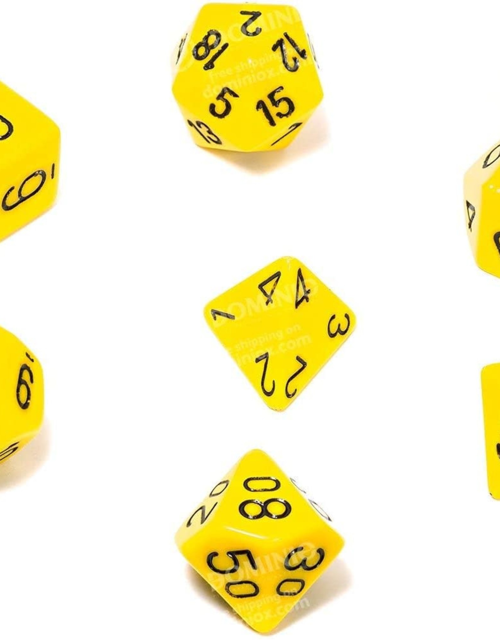 Chessex Opaque Poly 7 set: Yellow w/ Black