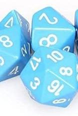 Chessex Opaque Poly 7 set: Light Blue w/ White