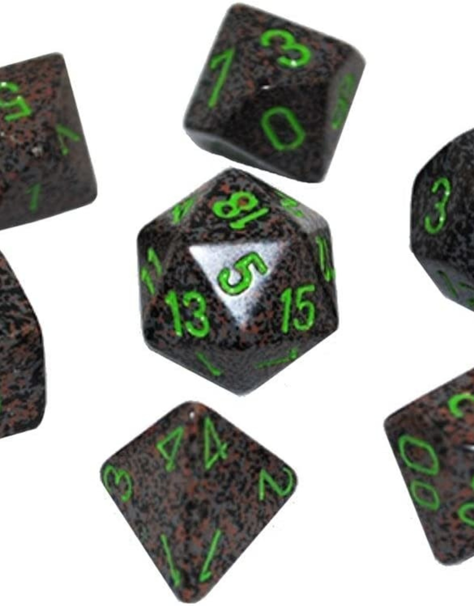 Chessex Chessex: Speckled Earth Black w/ Green - Polyhedral Dice Set (7) - CHX25310