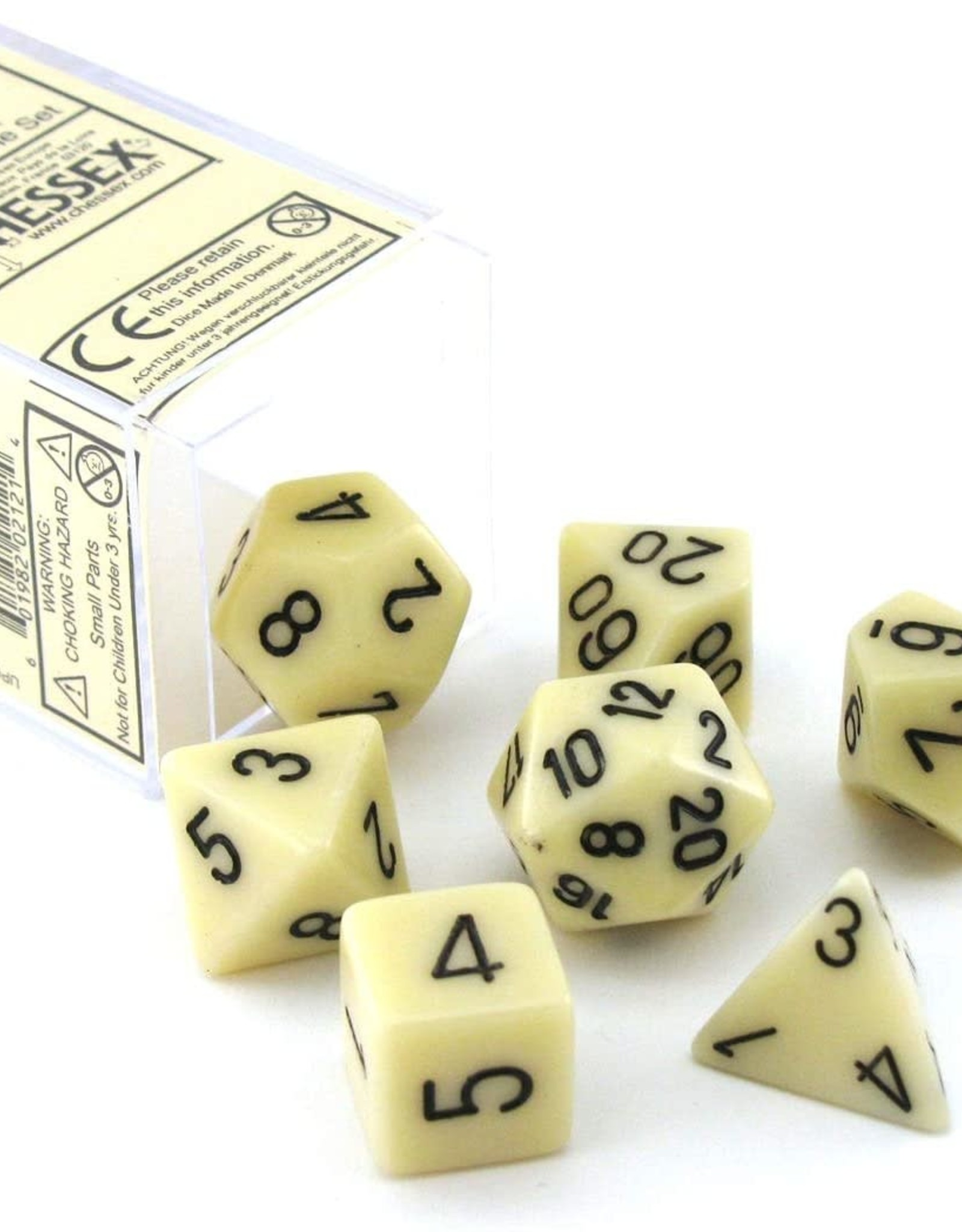 Chessex Opaque Poly 7 set: Ivory w/ Black
