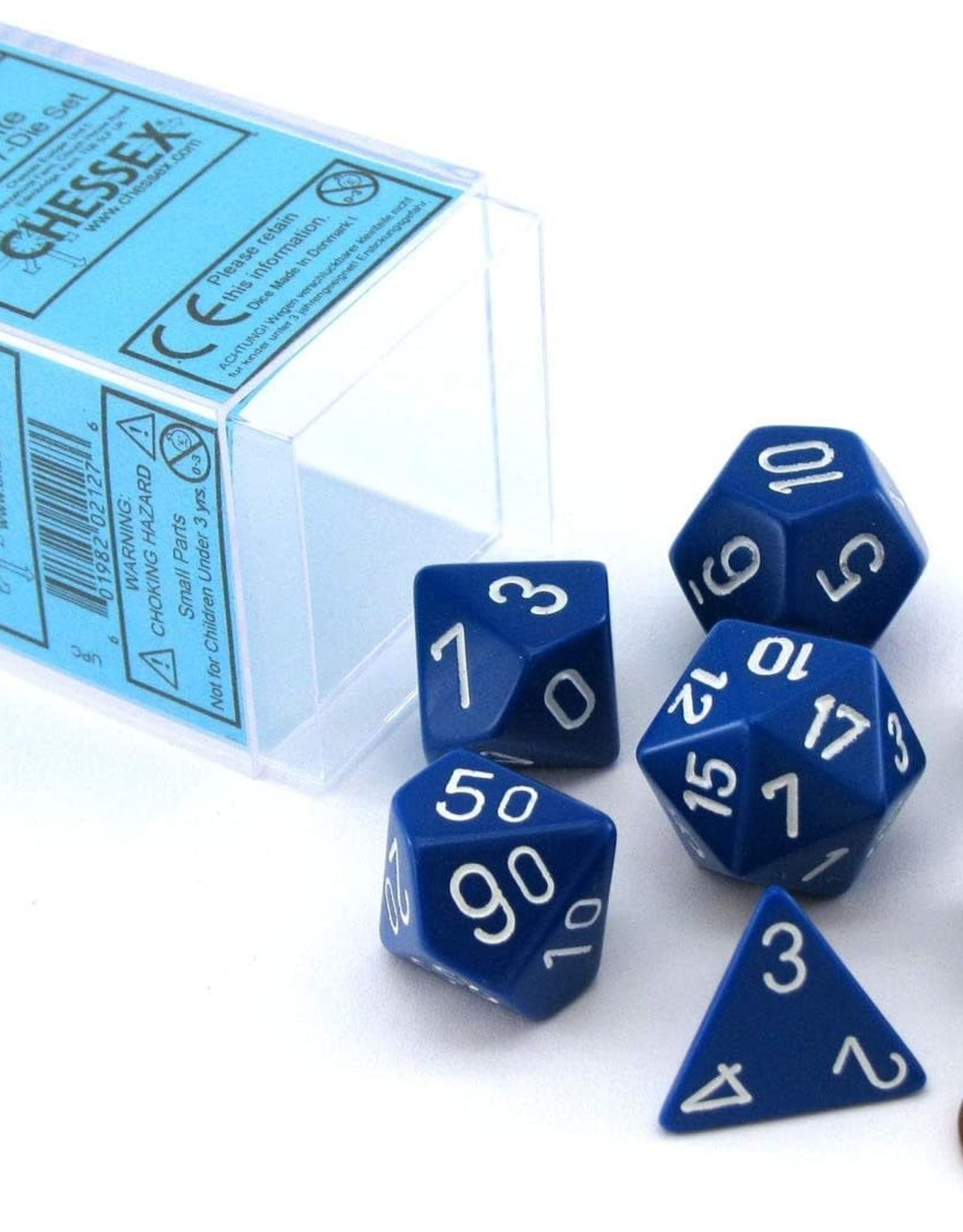 Chessex Opaque Poly 7 set: Blue w/ White
