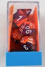 Chessex Lab Dice Gemini Poly 7 set: Orange & Purple w/ White