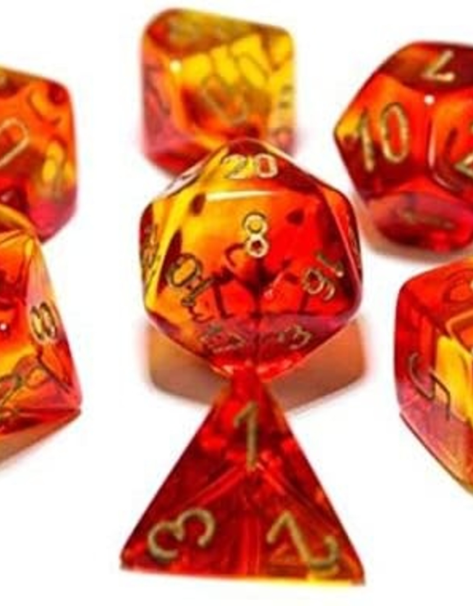 Chessex Lab Dice Gemini Poly 7 set: Red & Yellow w/ Gold