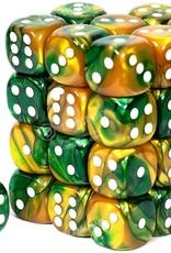 Chessex Chessex Gemini Gold Green w/ White 12mm (Small) 36 Dice Set CHX26825